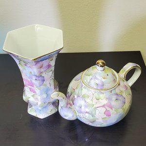 Baum Bros Formalities Vase and Teapot Set